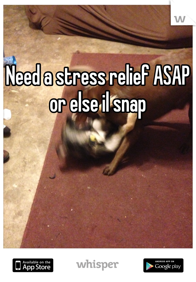 Need a stress relief ASAP or else il snap