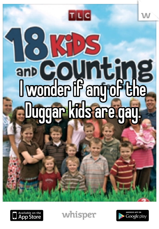 I wonder if any of the Duggar kids are gay.