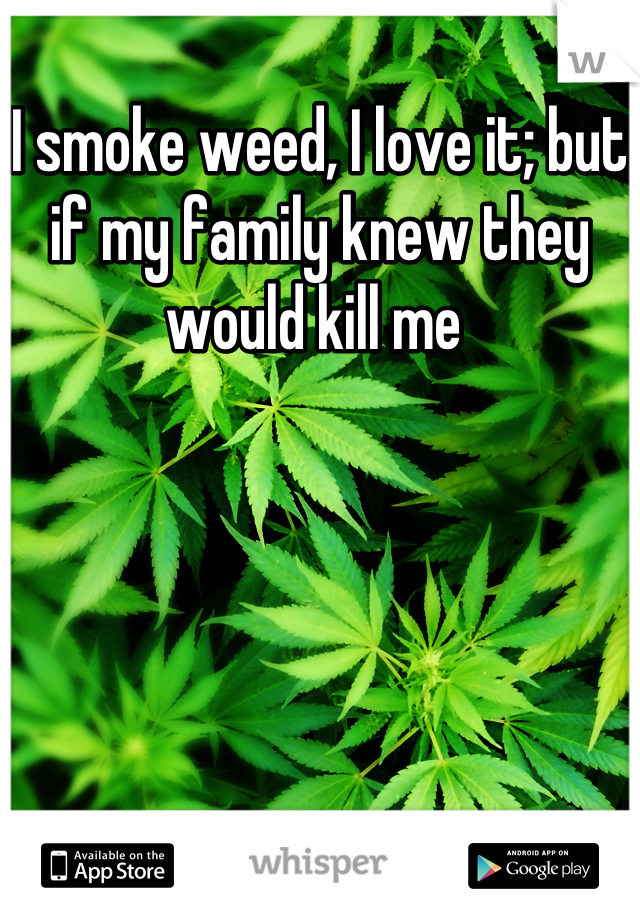 I smoke weed, I love it; but if my family knew they would kill me