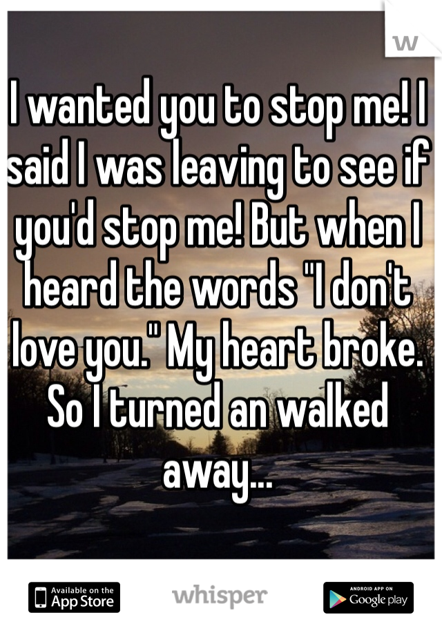 "I wanted you to stop me! I said I was leaving to see if you'd stop me! But when I heard the words ""I don't love you."" My heart broke. So I turned an walked away..."