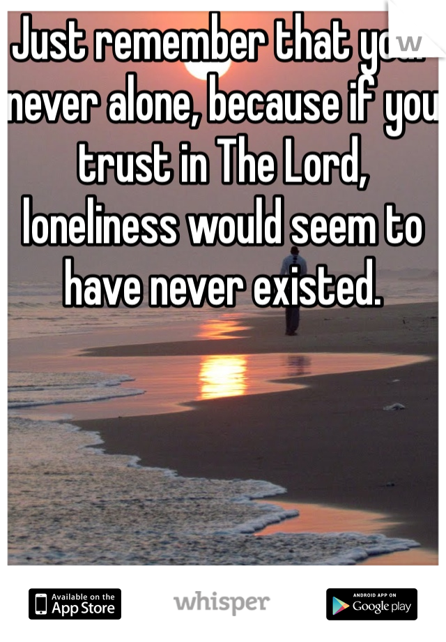 Just remember that your never alone, because if you trust in The Lord, loneliness would seem to have never existed.
