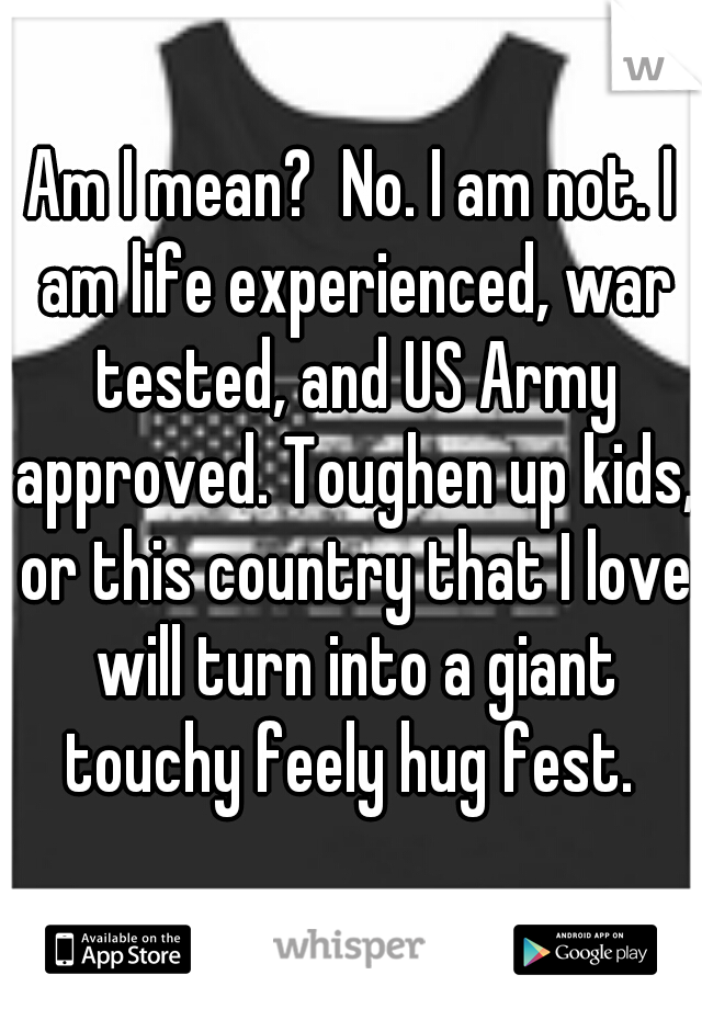 Am I mean?  No. I am not. I am life experienced, war tested, and US Army approved. Toughen up kids, or this country that I love will turn into a giant touchy feely hug fest.