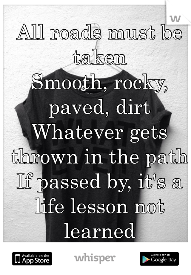 All roads must be taken Smooth, rocky, paved, dirt Whatever gets thrown in the path If passed by, it's a life lesson not learned