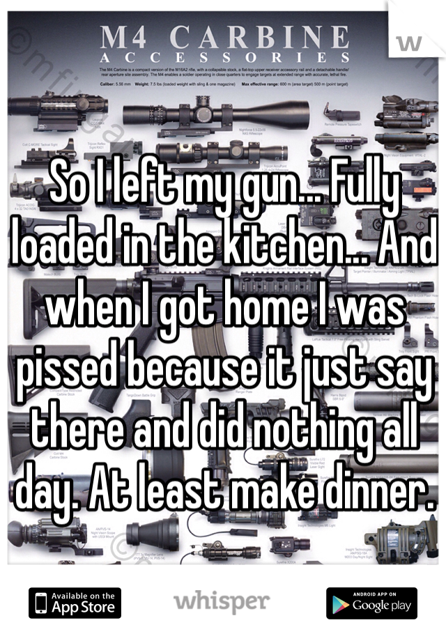 So I left my gun... Fully loaded in the kitchen... And when I got home I was pissed because it just say there and did nothing all day. At least make dinner.