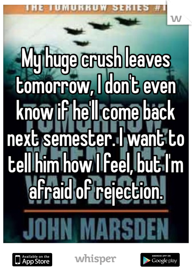My huge crush leaves tomorrow, I don't even know if he'll come back next semester. I want to tell him how I feel, but I'm afraid of rejection.