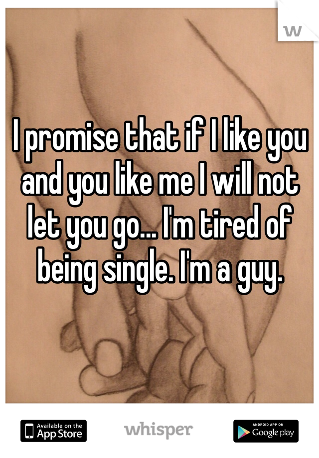 I promise that if I like you and you like me I will not let you go... I'm tired of being single. I'm a guy.