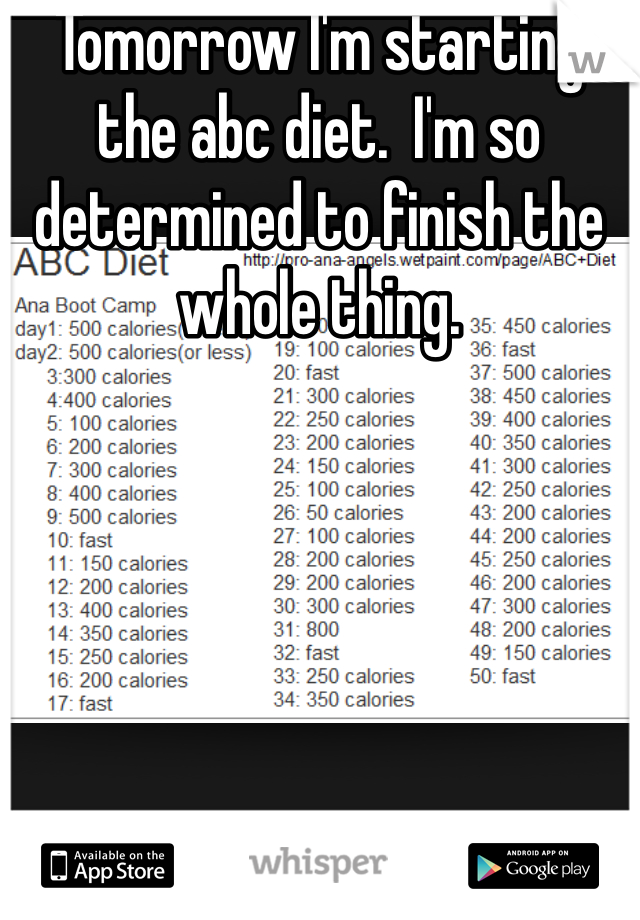 Tomorrow I'm starting the abc diet.  I'm so determined to finish the whole thing.