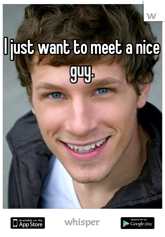 I just want to meet a nice guy.