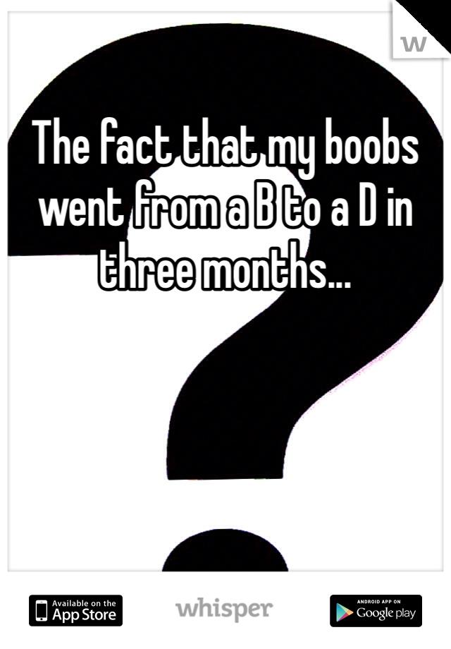 The fact that my boobs went from a B to a D in three months...