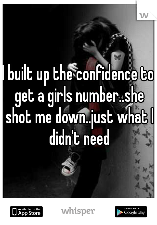 I built up the confidence to get a girls number..she shot me down..just what I didn't need