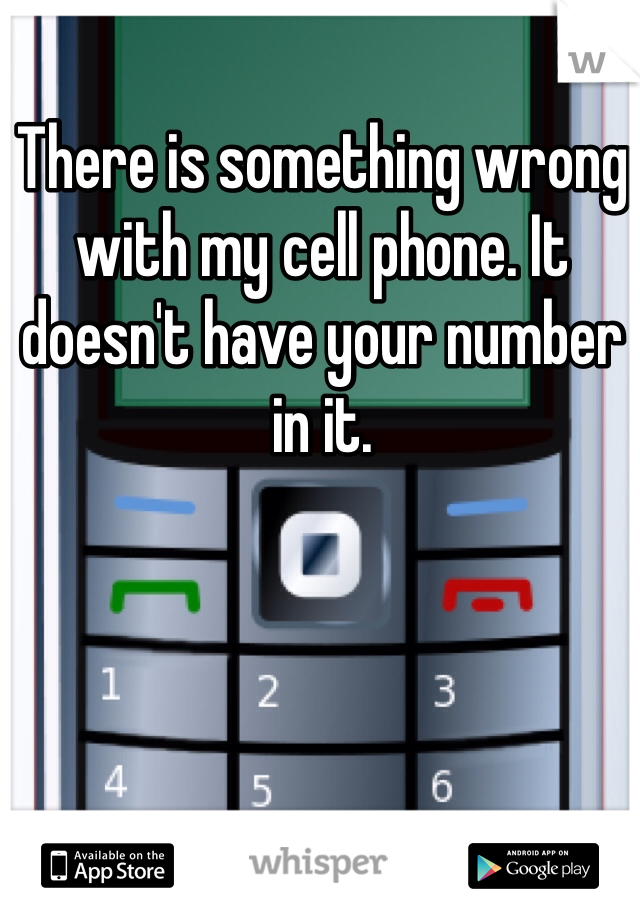 There is something wrong with my cell phone. It doesn't have your number in it.