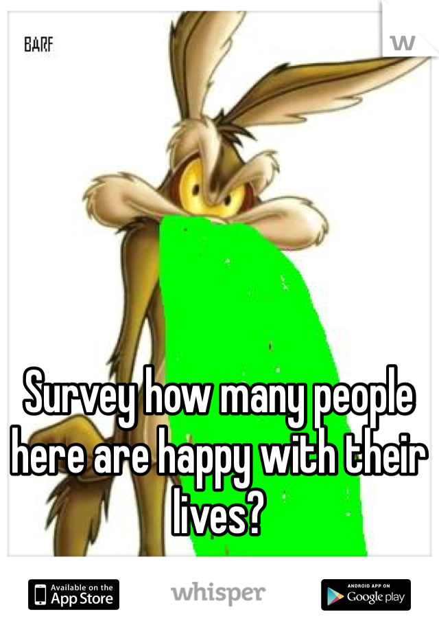 Survey how many people here are happy with their lives?