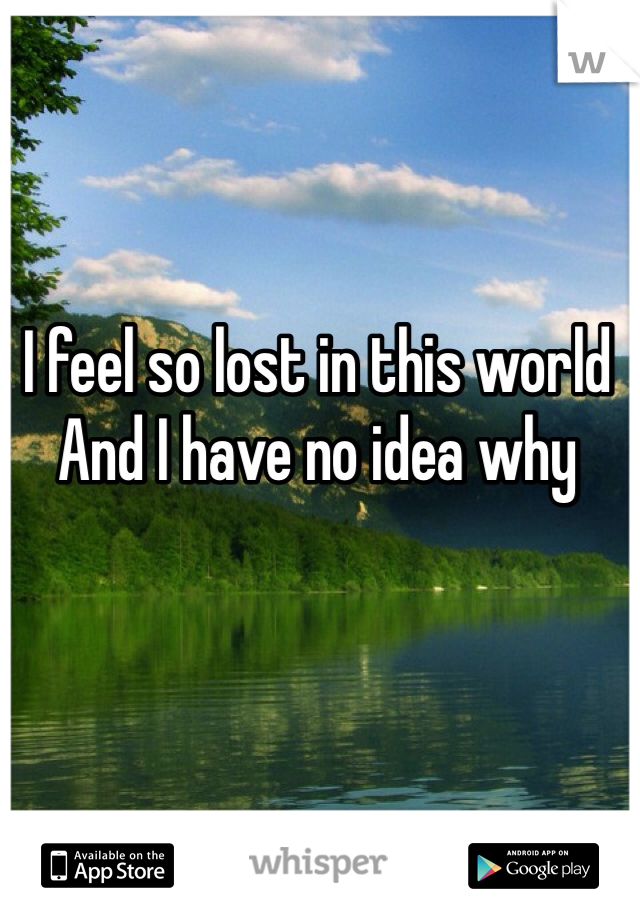 I feel so lost in this world And I have no idea why