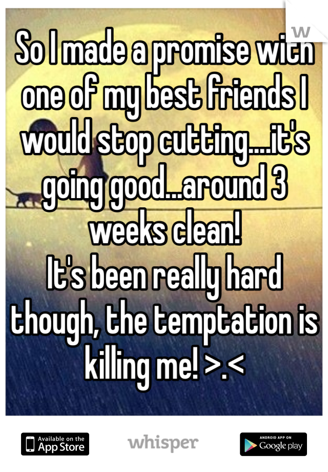 So I made a promise with one of my best friends I would stop cutting....it's going good...around 3 weeks clean!  It's been really hard though, the temptation is killing me! >.<