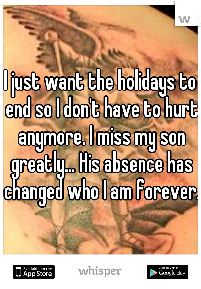 I just want the holidays to end so I don't have to hurt anymore. I miss my son greatly... His absence has changed who I am forever.