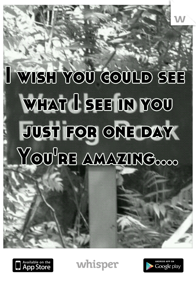 I wish you could see what I see in you just for one day You're amazing....