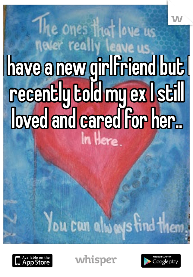I have a new girlfriend but I recently told my ex I still loved and cared for her..