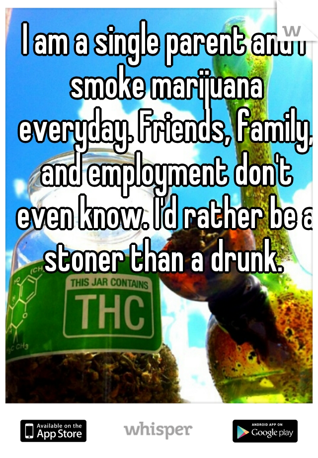 I am a single parent and I smoke marijuana everyday. Friends, family, and employment don't even know. I'd rather be a stoner than a drunk.