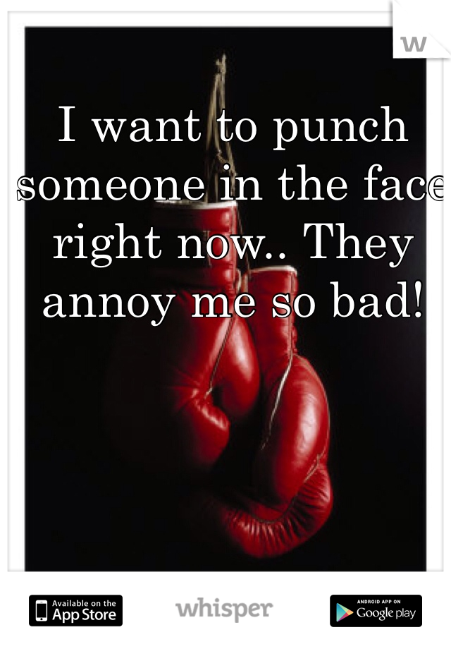 I want to punch someone in the face right now.. They annoy me so bad!