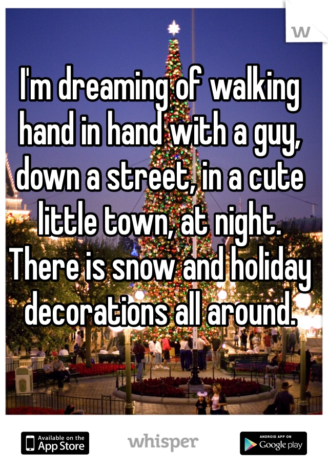 I'm dreaming of walking hand in hand with a guy, down a street, in a cute little town, at night. There is snow and holiday decorations all around.