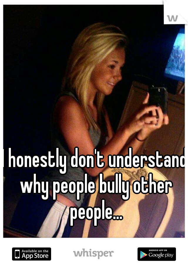 I honestly don't understand why people bully other people...