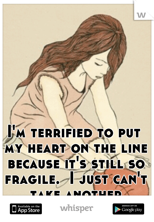 I'm terrified to put my heart on the line because it's still so fragile.  I just can't take another heartbreak!