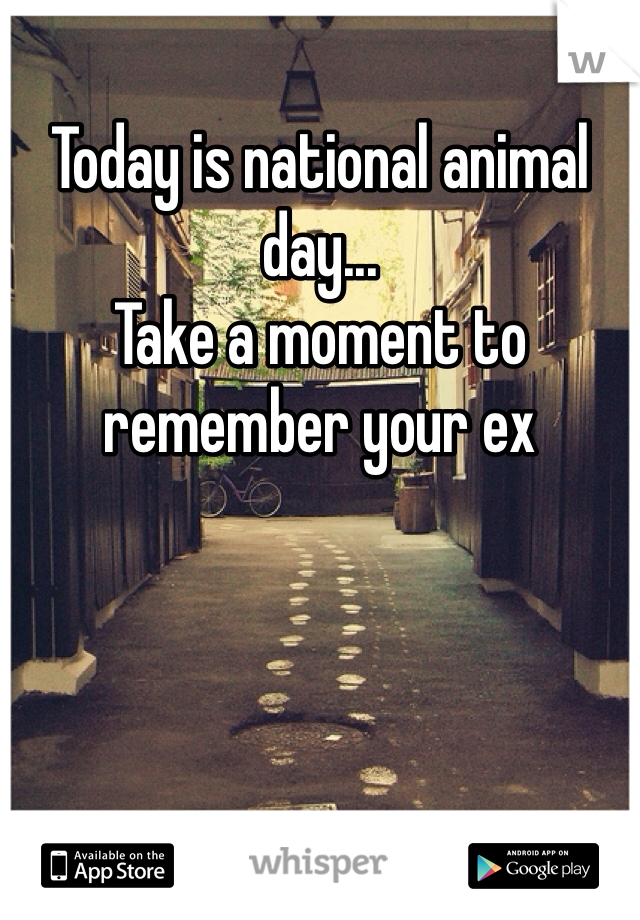 Today is national animal day... Take a moment to remember your ex
