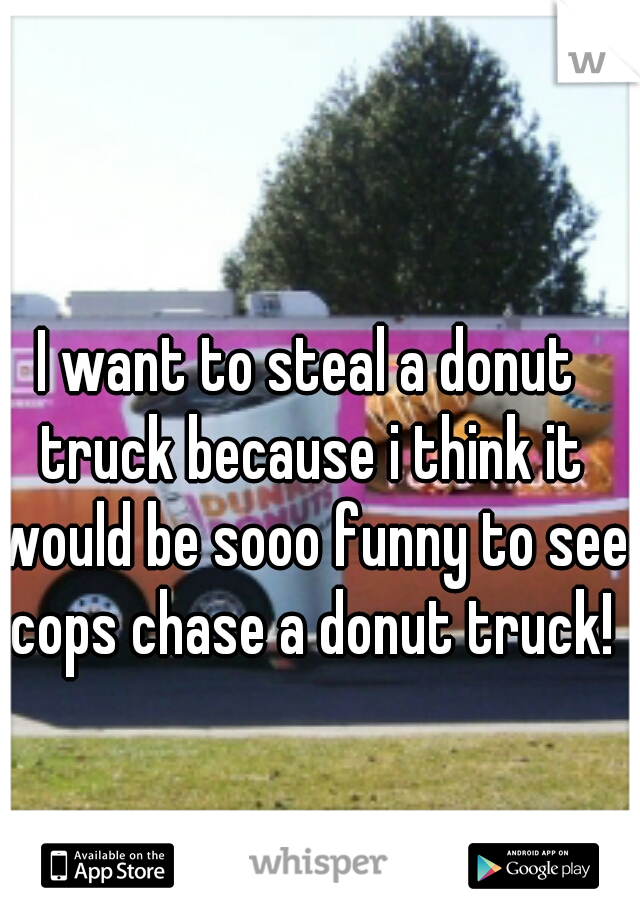 I want to steal a donut truck because i think it would be sooo funny to see cops chase a donut truck!