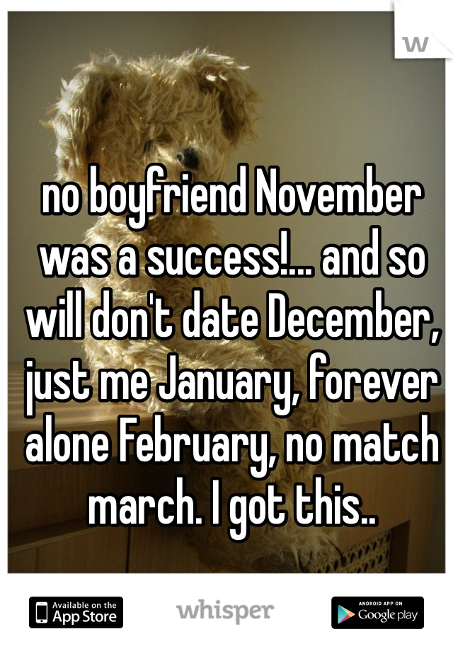 no boyfriend November was a success!... and so will don't date December, just me January, forever alone February, no match march. I got this..