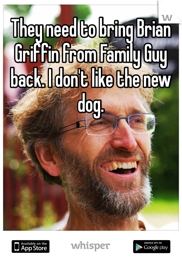 They need to bring Brian Griffin from Family Guy back. I don't like the new dog.