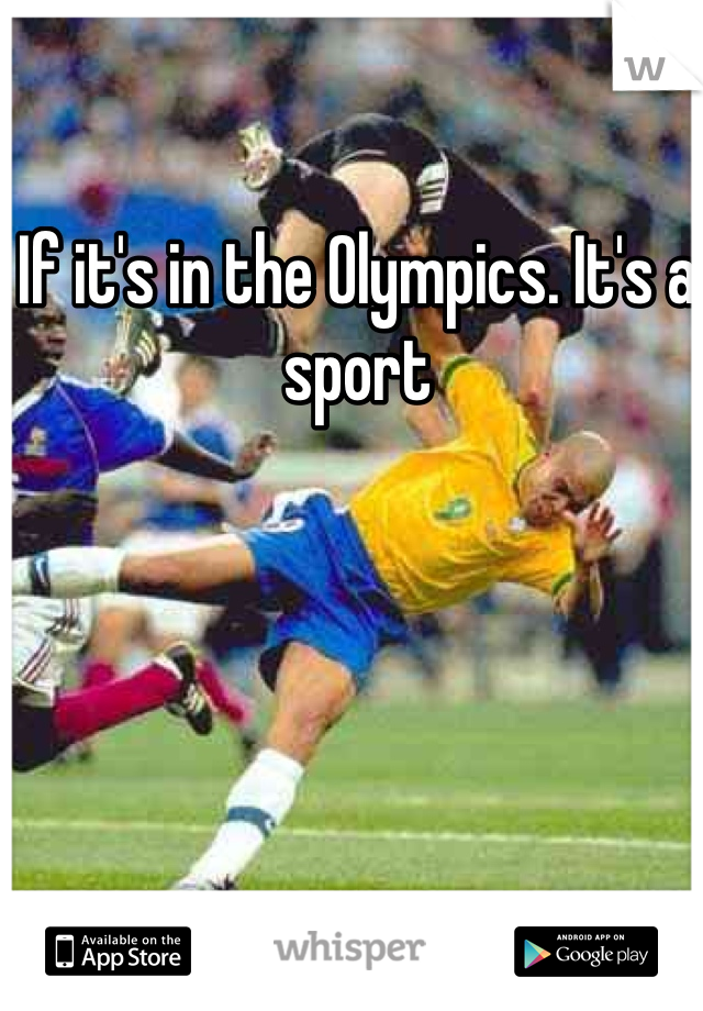 If it's in the Olympics. It's a sport