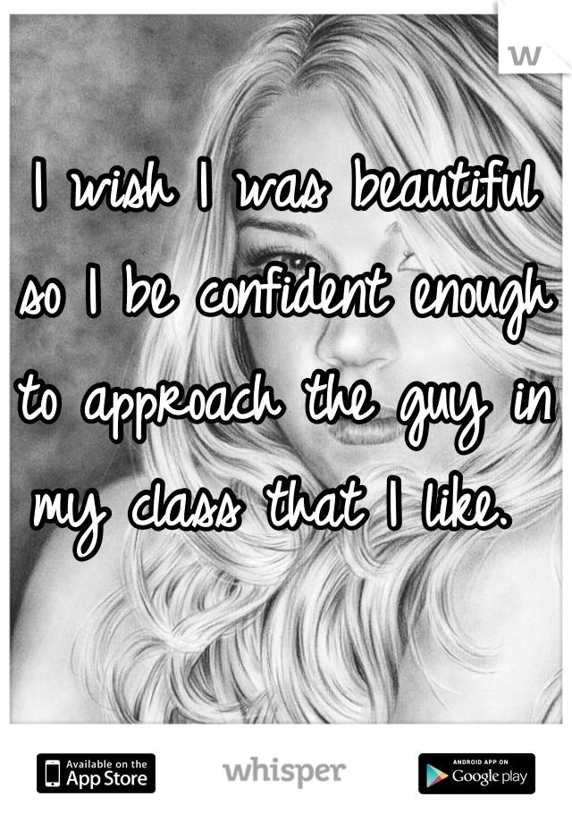 I wish I was beautiful so I be confident enough to approach the guy in my class that I like.
