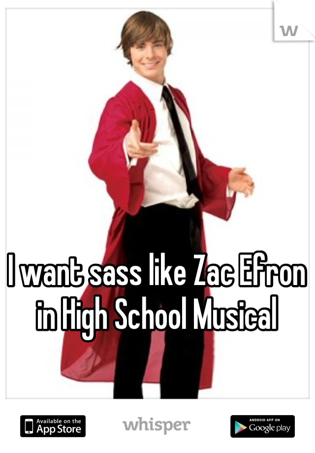 I want sass like Zac Efron in High School Musical