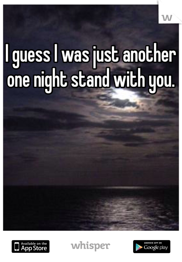 I guess I was just another one night stand with you.