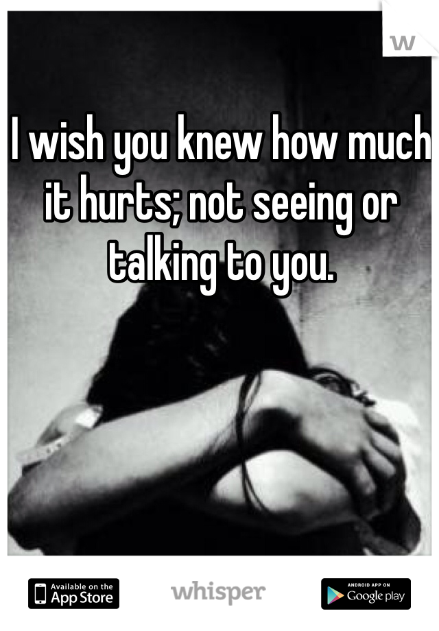 I wish you knew how much it hurts; not seeing or talking to you.