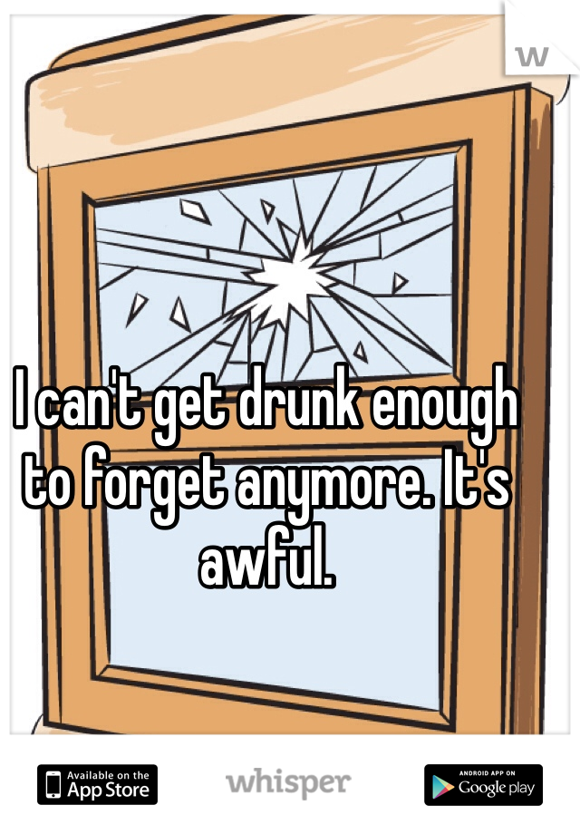 I can't get drunk enough to forget anymore. It's awful.