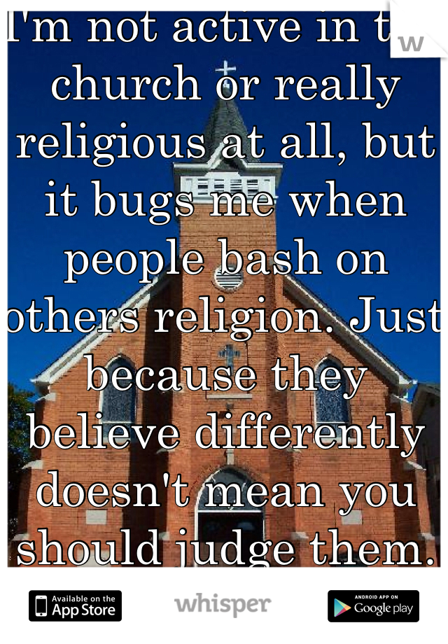 I'm not active in the church or really religious at all, but it bugs me when people bash on others religion. Just because they believe differently doesn't mean you should judge them. Let them be!