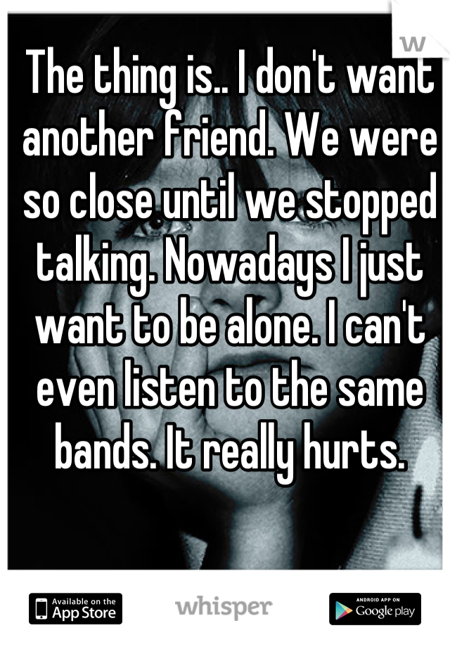 The thing is.. I don't want another friend. We were so close until we stopped talking. Nowadays I just want to be alone. I can't even listen to the same bands. It really hurts.