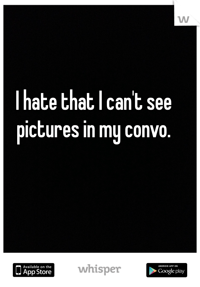 I hate that I can't see pictures in my convo.