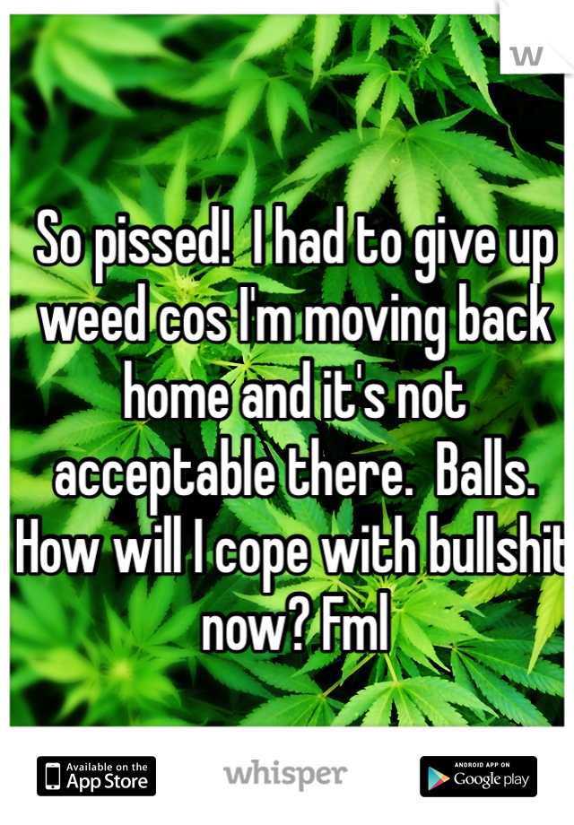 So pissed!  I had to give up weed cos I'm moving back home and it's not acceptable there.  Balls. How will I cope with bullshit now? Fml
