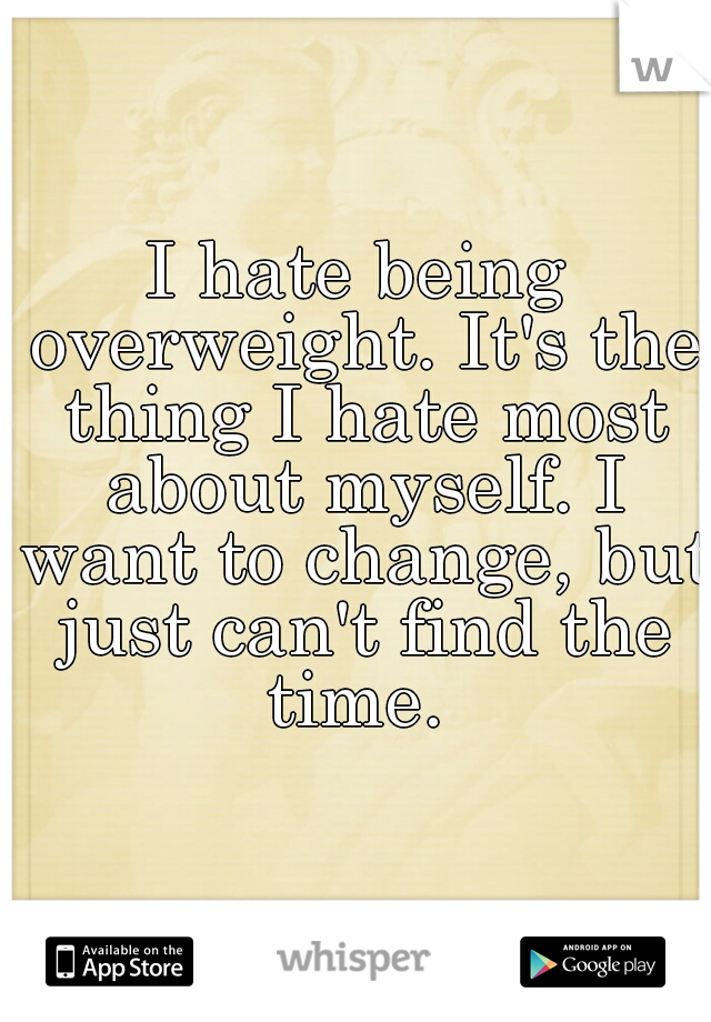 I hate being overweight. It's the thing I hate most about myself. I want to change, but just can't find the time.