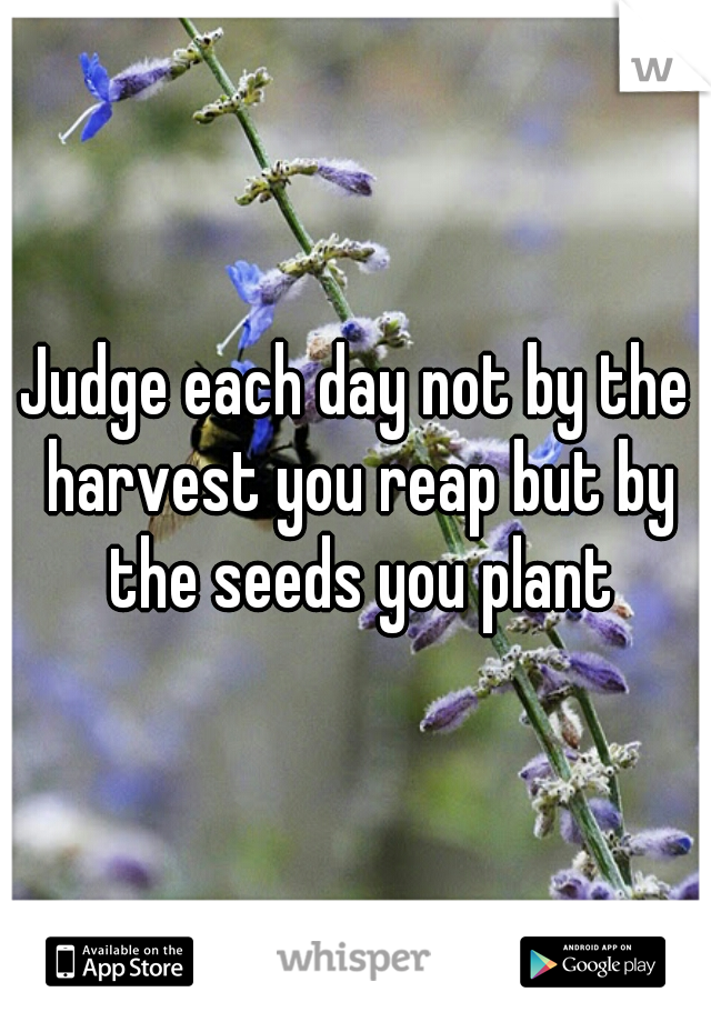 Judge each day not by the harvest you reap but by the seeds you plant