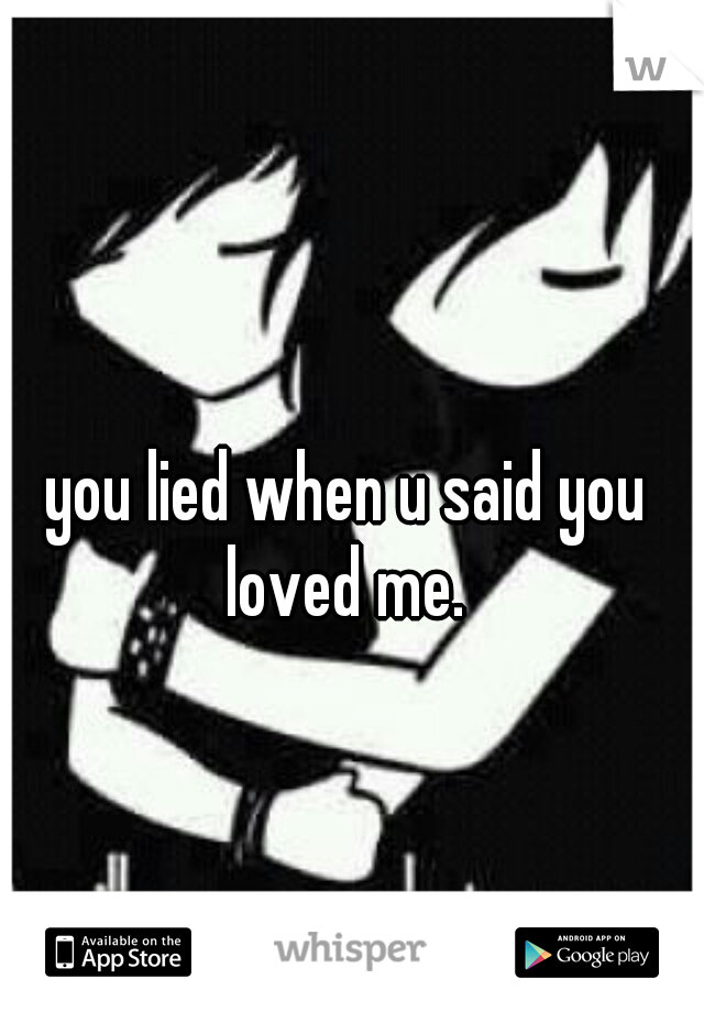 you lied when u said you loved me.