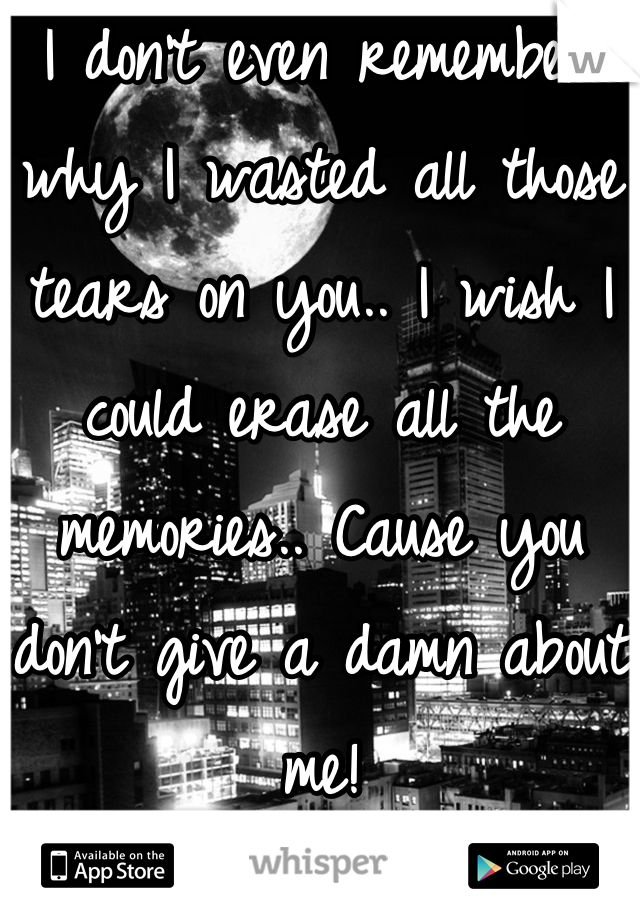 I don't even remember why I wasted all those tears on you.. I wish I could erase all the memories.. Cause you don't give a damn about me!