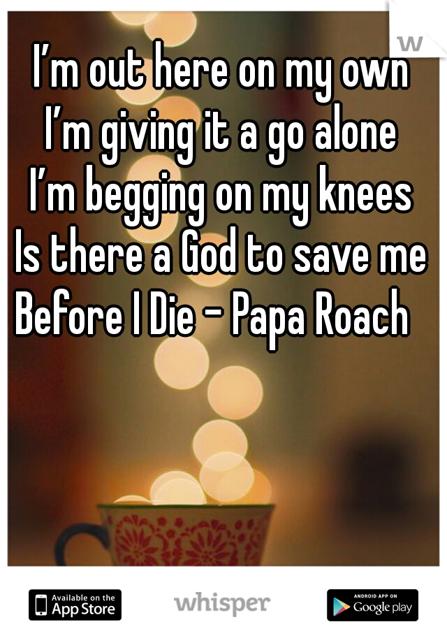 I'm out here on my own I'm giving it a go alone I'm begging on my knees Is there a God to save me  Before I Die - Papa Roach