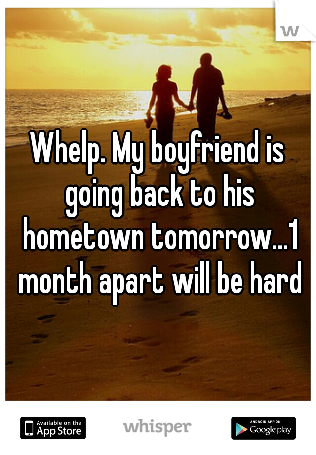 Whelp. My boyfriend is going back to his hometown tomorrow...1 month apart will be hard