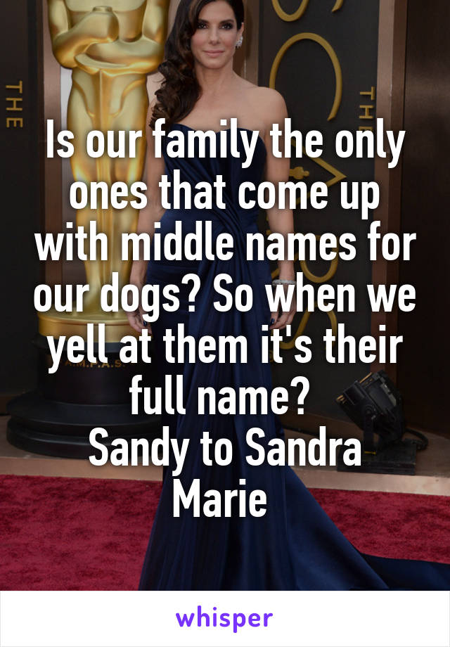 Is our family the only ones that come up with middle names for our dogs? So when we yell at them it's their full name?  Sandy to Sandra Marie
