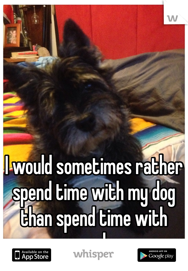 I would sometimes rather spend time with my dog than spend time with people.