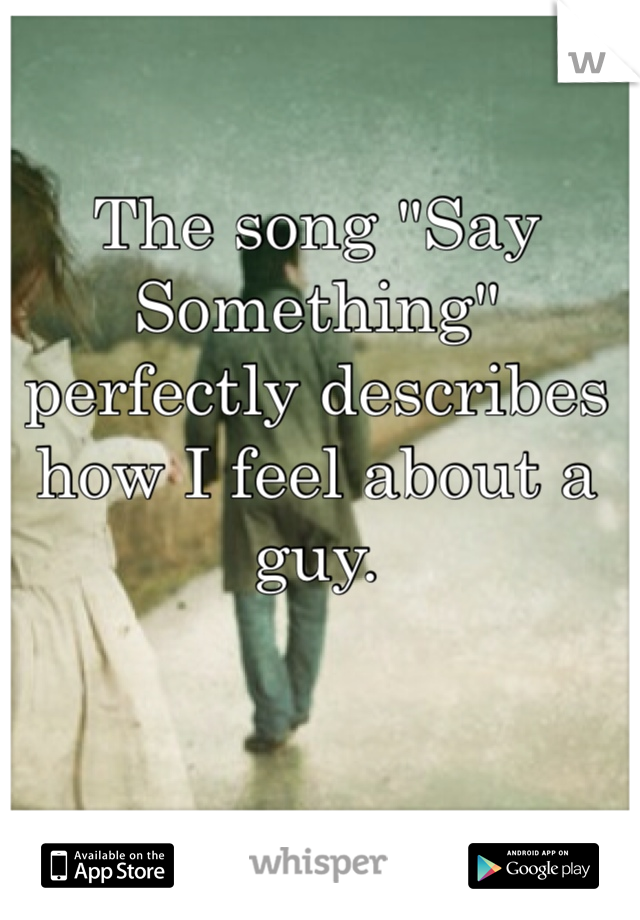 "The song ""Say Something"" perfectly describes how I feel about a guy."