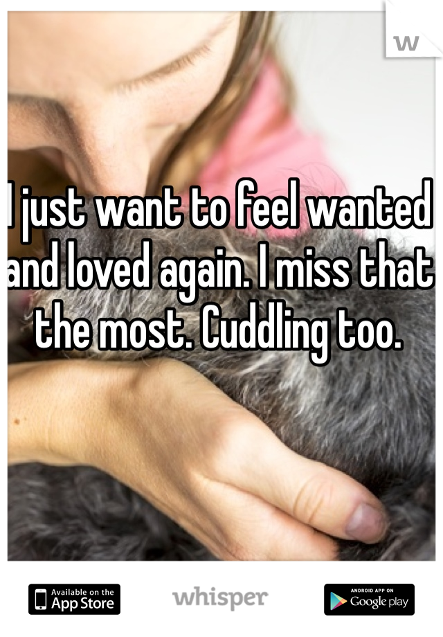 I just want to feel wanted and loved again. I miss that the most. Cuddling too.